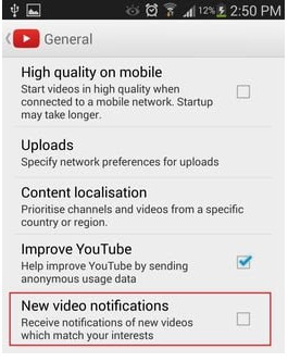 how to turn off youtube notifications 2